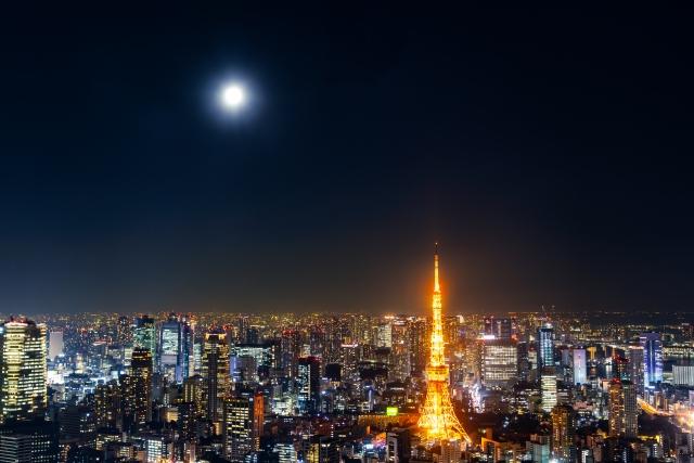 二人で眺める月夜
